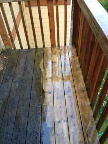 Image of a deck that's been pressure washed